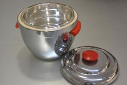 A 1950s chromium plated ice bucket complete with original liner with red plastic handles to side and
