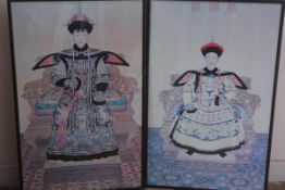 A pair of reproduction Chinese portraits in 18th century style of courtly figures 77.5cm by 46cm