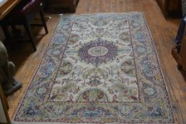 A Turkoman rug, the centre medallion with radiating lotus leaf and flower design enclosed within a
