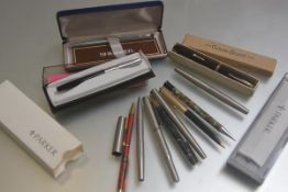 A collection of Parker ballpoint pens, fountain pens and Shaeffer ballpoint pen etc. four with