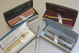 A lady's Sheaffer 904 GT, a lady's Sheaffer fountain and ballpoint pen set, a lady's Sheaffer 620 XG