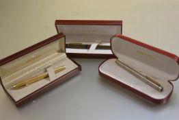 A Sheaffer Imperial 777 fountain pen with 14carat gold nib, two Sheaffer Targas pens with 14carat