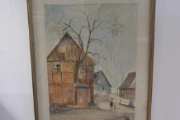 Eric Neiuz Everude, Helping Mummy hang the Washing, watercolour, signed and dated 1986 (74cm x