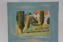 Brian Innes M.A., R.C.A. House and Cypress Trees, Provence, watercolour, signed, gallery label