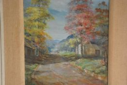 Alice Macharg-Smith, A Tree-Lined Road, oil on panel, signed 39cm by 30cm
