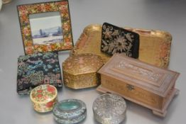 A mixed lot comprising a treen Persian style painted square photograph frame, an octagonal Persian
