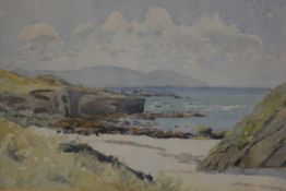 William Jardine Dobie, Tangy Shore, Kintyre, watercolour, signed and dated 1954, paper label