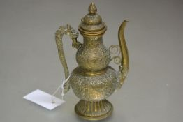 A late 19thc Chinese brass wine ewer of gourd form with dragon scroll handle to side, with allover