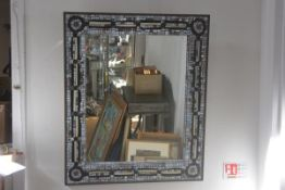 A modern mosaic rectangular wall mirror. 94cm by 78cm