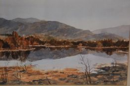 Richard Alred, Reflections, Strath Tummel, watercolour, signed, inscribed verso 24cm by 32cm