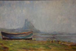 """Robert Jobling (Staithes Group), Holy Island, """"Sketched on the Spot 1912"""", oil on board, signed."""