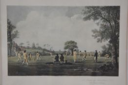 A reproduction print by Messrs Fores of Piccadilly, A Match at Hambledon, the Cradle of Cricket,