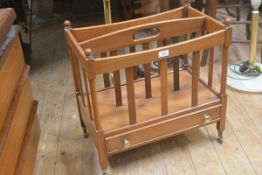 A yew wood music canterbury, the rectangular top with twin divisions and slatted sections, fitted