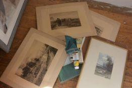 A collection of artist's work inc. sketch pads, engravings, watercolours etc