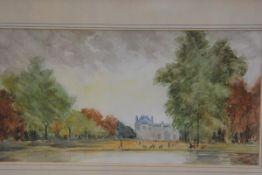 MW Paterson, Jardin de Tuileries, watercolour, signed and dated 1961, paper label verso (18cm x