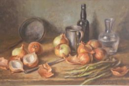 Alan Sutherland, The Onions, still life, oil on canvas board, signed (49cm x 74cm)