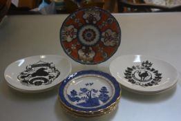 A set of six Royal Doulton Booths Willow Pattern with transfer printed design and gilt borders,