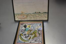 A 1930s linen embroidered panel depicting a Seated Girl with Daisies and another depicting a