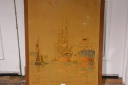 Frank H Mason, Grain Ships on the Orwell in Suffolk, printed signboard 77cm by 57cm