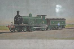Railwayana: a 1920's lithograph of London & South Western Railways Express Locomotive no. 709 by