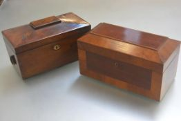 A 19thc rosewood sarcophagus tea caddy with twin brass ring handles to side, with fitted interior