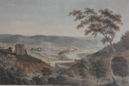 After I. Clark, Town of Peebles, 19th century topographical engraving highlighted with colour 47.5cm