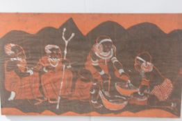 A Nigerian batik panel depicting a Family Preparing a Meal, on cotton fabric, mounted on block board