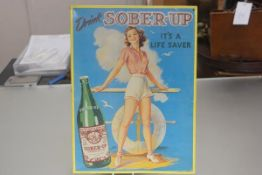 An American sheet metal embossed advertising panel, Drink, Sober Up, its a Life Saver (Sober-up, Fit