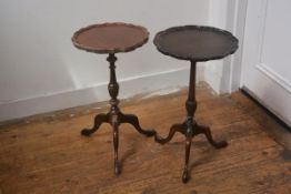 Two stained scalloped top pedestal wine tables on tripod bases (restorations) 51cm by 29cm each