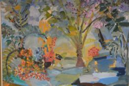 C. Tanner, Tropical Garden, oil on canvas, signed 78cm by 68.5cm