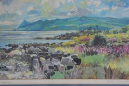 Bob Lees, Between Corrie and Brodick, silkscreen print ed. 10/12, signed pencil. 22cm by 38cm