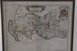 After I Blaeu, an 18thc map of Galloway highlighted with colour (47cm x 57cm)