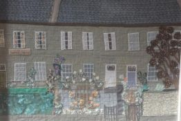 Carola Gordon, a fabric collage of 20 Comely Bank, Edinburgh, signed verso. 41cm by 49.5cm