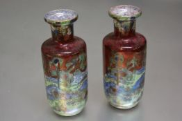 A pair of Wilton ware cylinder baluster lustre vases decorated with Oriental landscape gardens, with