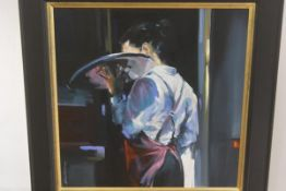Cecilia Cardiff, She Waits, oil on canvas, signed and inscribed verso (60cm x 60cm)