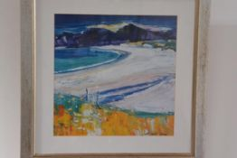 John Lowrie Morrison, Kiloran Bay, Colonsay, coloured print. 39cm by 39cm