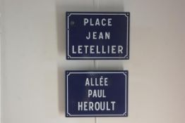 Two French blue and white enamel street signs, Place Jean Letellier and Allee Paul Heroult (2)