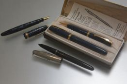A fountain pen, model W3M and matching propelling pencil with gilt metal hardware in original fitted