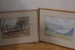 William Jardine Dobie, Loch Mariee, and a Highland Farmhouse, watercolour, unsigned (each: 27cm x