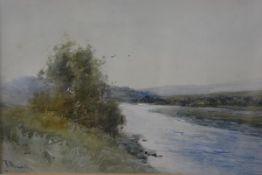 Thomas Bunting, Riverscape, watercolour, signed (21cm x 35cm)