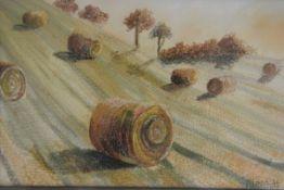 "Morag Ironside, original thread painting ""Last Ray of Sun"", framed"