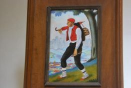 A Spanish enamelled plaque depicting a Travelling Musician with Village in the distance, on metal,