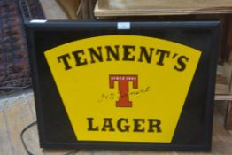 A Tennents Lager illuminated wall sign complete with fitted plug (48cm x 63cm)