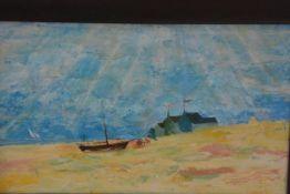 C. Howard R.C.A., Golden Sands, oil on board, signed. 29cm by 50cm