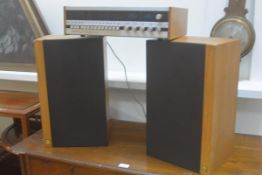 A pair of KEF 1970s teak cased speakers, model Corelli Type SP1051 and a Tandberg tuner with teak