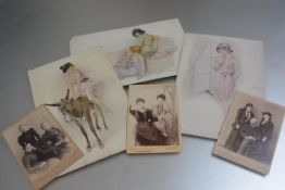Three various framed Victorian family photographs and three 1920s saucy prints depicting Girl riding