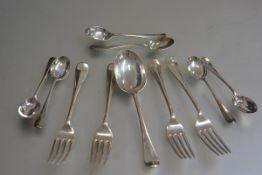 A Brook & Sons, Edinburgh, rat tail pattern part set of flatware including four dessert forks, a