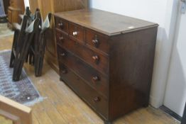 A 19thc mahogany chest, the rectangular top with moulded edge (a/f) above three short and three