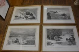 A set of four Archibald Thorburn lithographic prints, signed in pencil, Mallard Ducks, The Shoot,