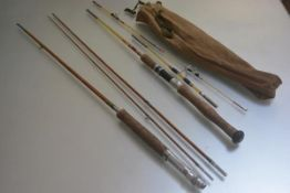A glass fibre three part spinning rod and a split cane style three piece glass fibre spinning rod by